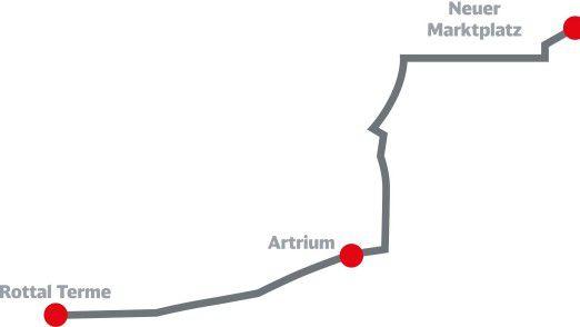 Ab 2018 soll die jetzt 700 Meter lange Strecke bis zum Bahnhof verlängert werden, um Anschluss an alle ankommenden Züge zu sichern.