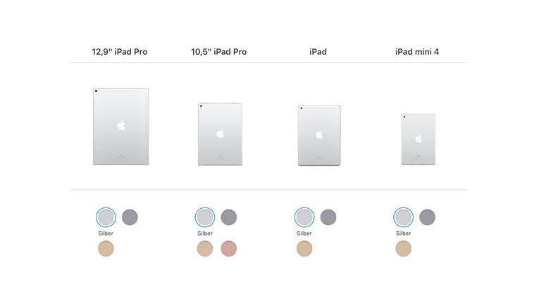 Vier Modelle, drei oder vier Farben: Apples aktuelles iPad-Angebot