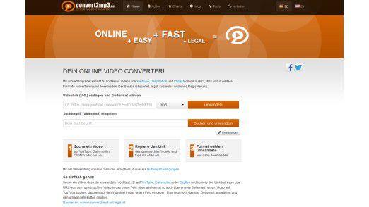 Convert2mp3 erlaubt den schnellen und unkomplizierten Download von Youtube-Videos.