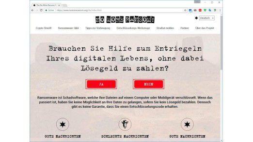 Die Website No more Ransom sollte die erste Anlaufstelle für Opfer von Erpresserviren sein. Dort können Sie prüfen, ob es ein kostenloses Entschlüsselungstool für die entführten Dateien gibt.