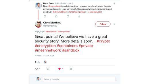 Twitter-Konversation zwischen Rene Buest und Computes-CEO Chris Matthieu.
