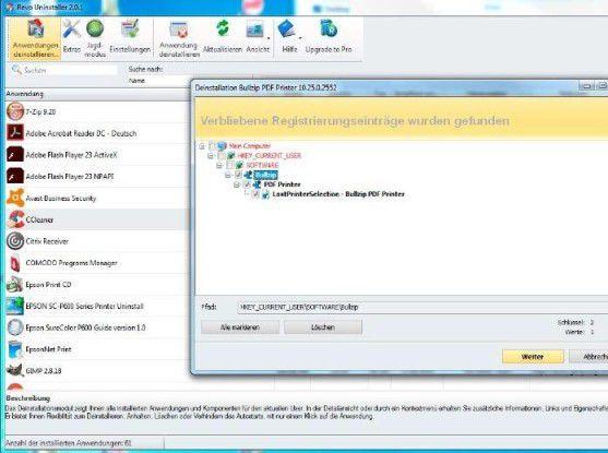 Deinstallierungsprogramme wie etwa Revo Uninstaller helfen, wenn Windows ein Programm nicht oder nicht vollständug entfernt. Sie beziehen die Registry-Einträge in den Löschvorgang mit ein.