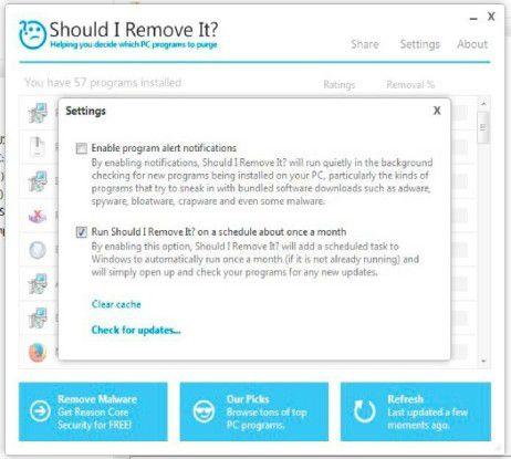 """""""Should I Remove It?"""" listet alle installierten Programme auf. Damit Ihnen kein Speicherfresser entgeht, lassen Sie Ihr System automatisch monatlich scannen."""