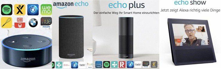 Von links nach rechts: Dot, Echo, Echo Plus und Echo Show.