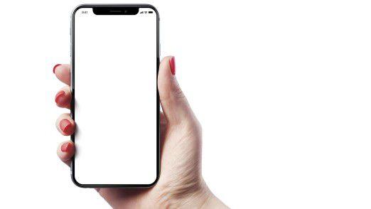 iPhone X: Aussparung für Sensoren am oberen Bildschirmende.
