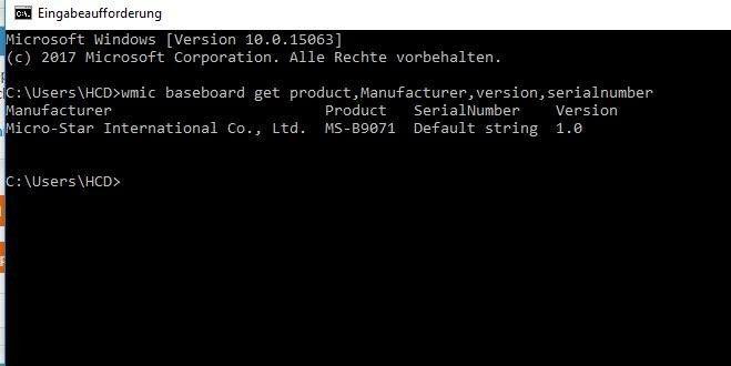 Das Ergebnis von wmic baseboard get product,Manufacturer,version,serialnumber.