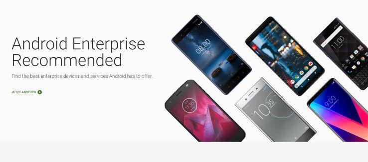 Android Enterprise Recommended - Google empfiehlt die angeblich besten Geräte und Services für das Android-OS.