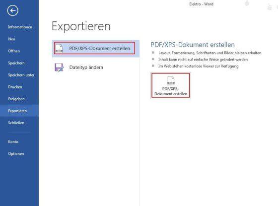 Eine zusätzliche Option, um ein Dokument als PDF zu speichern, besteht darin, dieses als PDF zu exportieren.