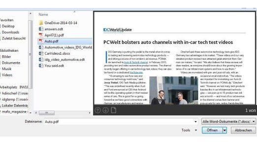 Die Funktion PDF Reflow von Winword-Versionen seit 2013 ermöglicht es, PDF Dateien mit Word zu öffnen und zu bearbeiten. Dabei wird der Inhalt des PDFs von Word geparst und interpretiert