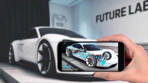 Mit dem Porsche Mission-e testet Porsche neue Technologien wie Augmented Reality.