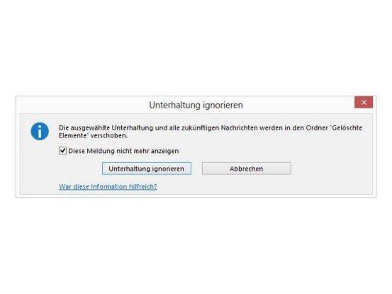 Ignorieren einer Unterhaltung in Outlook 2013 verhindert internen Spam