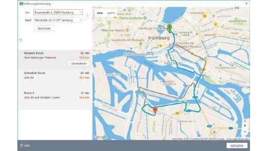 Das WISO Steuer:Sparbuch nutzt Google Maps, um die Kilometerpauschale zu berechnen.