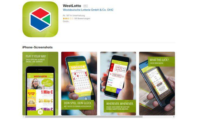 Natürlich darf eine konkurrenzfähige App bei der nordrheinwestfälischen Lottogesellschaft keinesfalls fehlen.