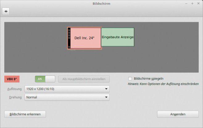 Über Einstellungen -> Bildschirm legen Sie unter Linux Mint die Bildschirmauflösung fest.