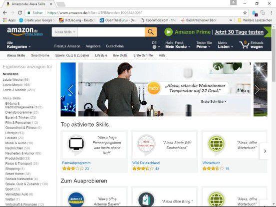 Die Skills werden üblicherweise über die Alexa-App installiert. Den Amazon Skill Store erreichen Sie aber auch über das Internet.