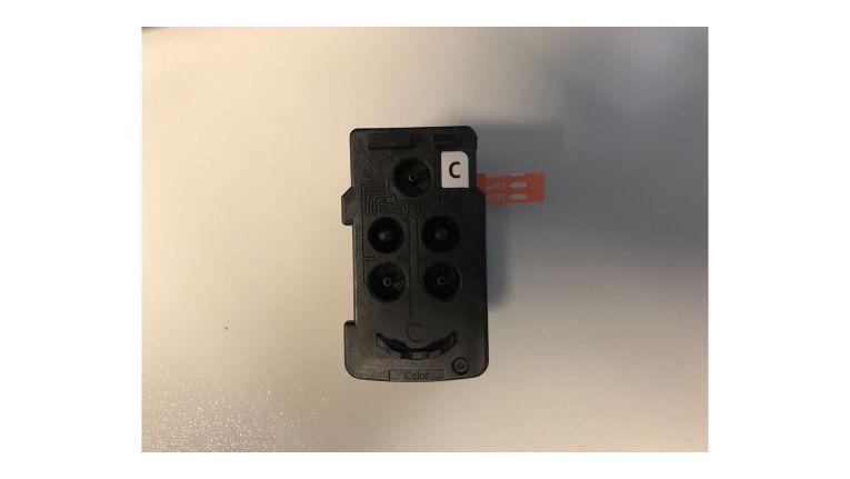 Der Druckkopf des Canon Pixma G4500 sieht aus wie eine Patrone mit integriertem Druckkopf, wie wir sie etwa vom Modell MG3650 her kennen. Einmal eingebaut, sollen beide Köpfe im Gegensatz zu den Patronen ein Druckerleben lang halten.