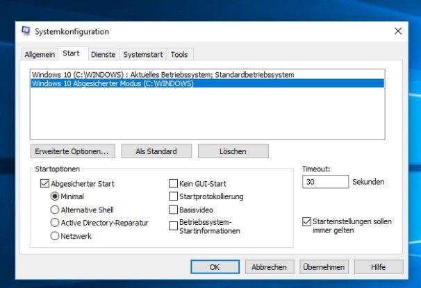 Den abgesicherten Modus können Sie auch in das Boot-Menü von Windows einbinden.