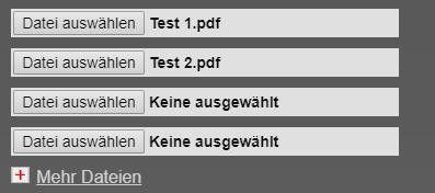 Über Datei auswählen bzw. Durchsuchen wählen Sie nach und nach die PDF-Dateien aus, die Sie zusammenfügen möchten.