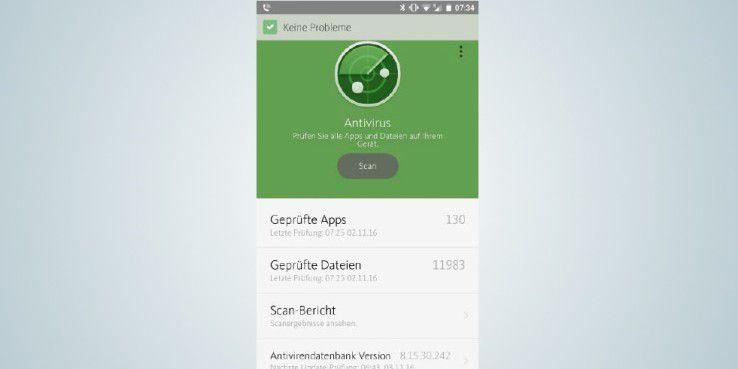 Die Sicherheits-Apps – hier die Lösung von Avira – scannen das mobile Endgerät auf verdächtige Dateien und Anwendungen.