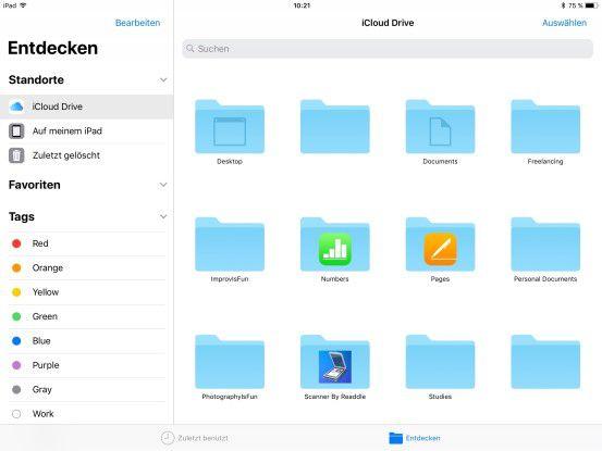 Die neue Dateien App kann Dienste wie Dropbox einbinden, und kann die Liste der Dateien als Symbol- oder Listenansicht anzeigen. Auch Drag-and-drop ist hier möglich.