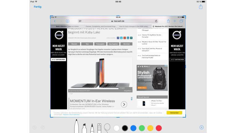 Bildschirmfotos lassen sich nach dem Erstellen in einer neuen Darstellung bearbeiten, teilen und anschließend sofort löschen oder speichern.