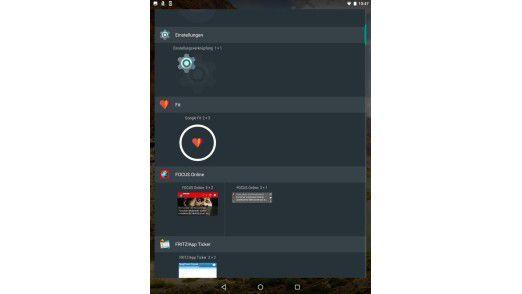 Widgets bieten Unterfunktionen von Apps, die direkt auf dem Home-Bildschirm erreichbar sind.
