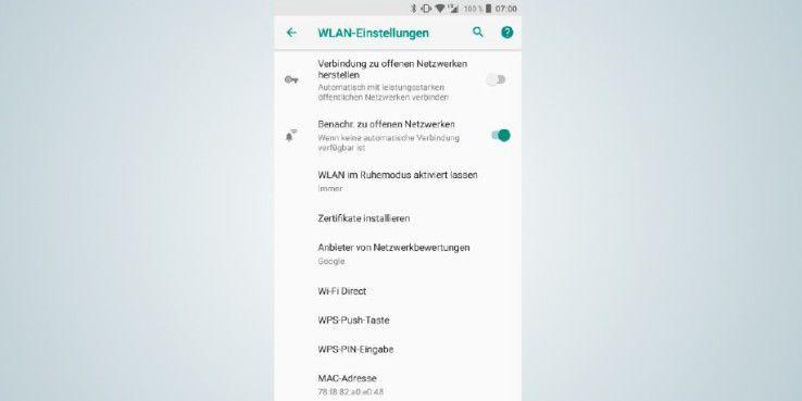 In den WLAN-Einstellungen legen Sie fest, ob sich Ihr Gerät automatisch mit einem bekannten WLAN verbindet und ob Sie über offene WLANs informiert werden.