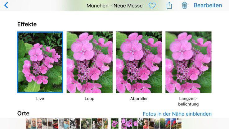 Mit iOS 11 können Sie ein Schlüsselbild eines Live Photos (ab iPhone 6S möglich) bestimmen und aus drei Effekten wählen.