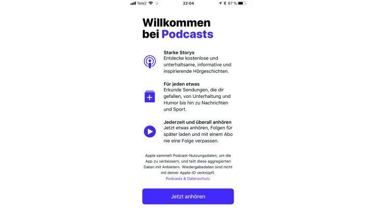 Neu gestaltet zeigt sich die Podcast-App und weist beim ersten O?ffnen auf ihre Stärken hin.