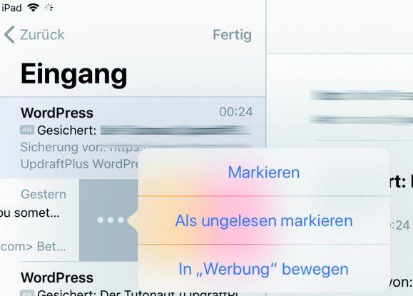 Spam-Nachrichten lassen sich in iOS 11 recht einfach als solche markieren und in den Spam-Ordner bewegen.