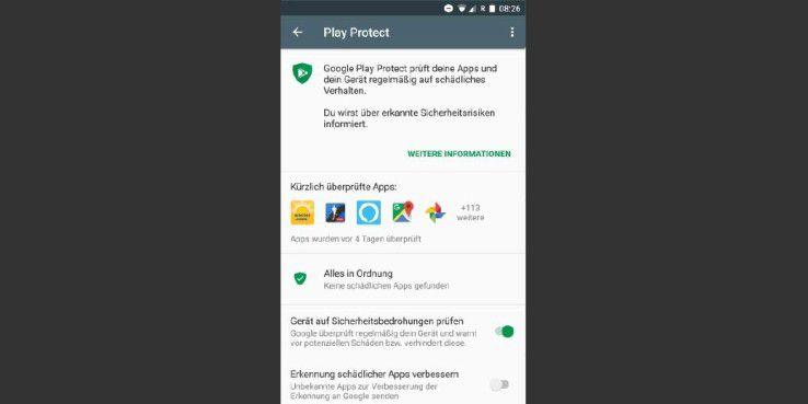 Seit Neuestem überprüft Google mit 'Play Protect' alle installierten Apps.