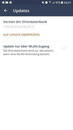 Bei Antiviren-Apps aktualisiert sich die Virendatenbank automatisch.