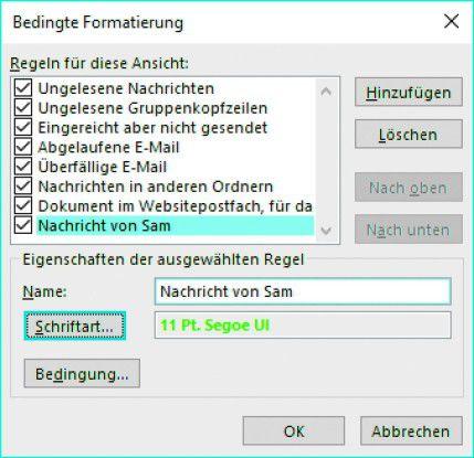 Mit der bedingten Formatierung von Outlook heben Sie wichtige Nachrichten oder solche von bestimmten Absendern farblich hervor.