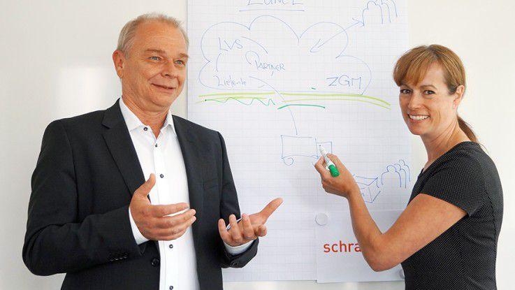 Alexandra Diwischofsky und Arno Ohrmund erklären ein Zander-Projekt.
