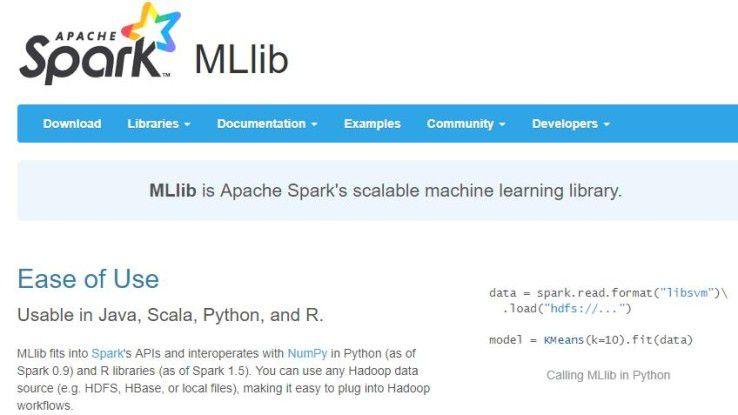 Die Machine Learning-Bibliothek MLlib arbeitet mit Hadoop und Spark zusammen.