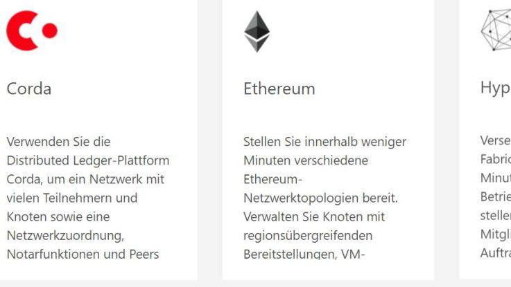 In Microsoft Azure stehen über den Azure Marketplace auch verschiedene Blockchain-Dienste von Drittherstellern zur Verfügung.