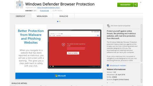"""Microsoft will Google Chrome mit den Technologien aus dem Edge-Browser-Modul """"Windows Defender Browser Protection"""" sicherer machen."""