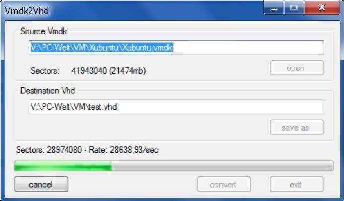 Die Konvertierung von einem virtuellen System zu einem anderen übernimmt Vmdk 2 Vhd.