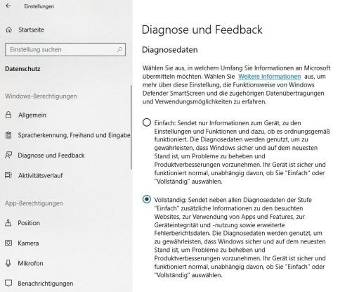 Konfigurieren der Diagnosedaten in Windows 10
