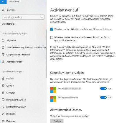 Anpassen der Timeline in Windows 10 Version 1803