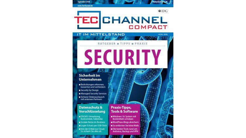 160 Seiten Security-Know-how, -Grundlagen und -Ratgeber im neuen TecChannel Compact September 2018.