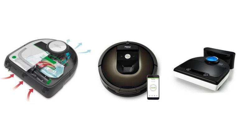 Von links nach rechts: Der kletterfreudige Vorwerk Kobold VR200, iRobot Roomba 980 und Neato Botvac D85.