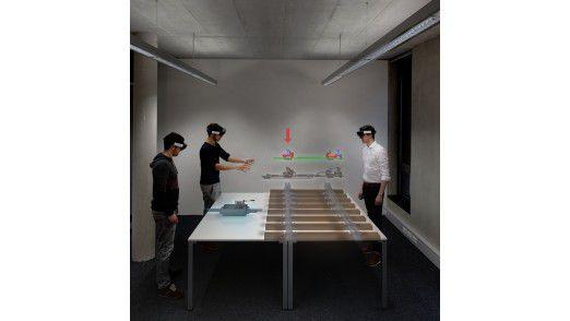 Auszubildende lernen anhand detaillierter AR-Hologramme die komplexen Arbeitsschritte bei der Weichenwartung.