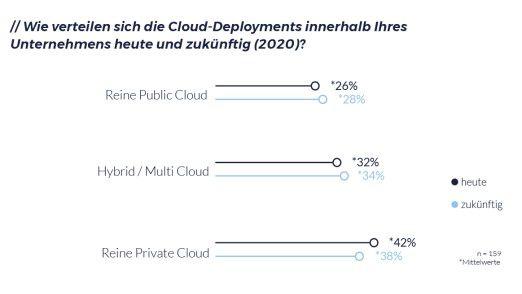 """Viele Entscheider berichten, derzeit mehrheitlich """"Reinformen"""" der Cloud in Form einer Public (26 Prozent) oder Private Cloud (42 Prozent) zu nutzen"""