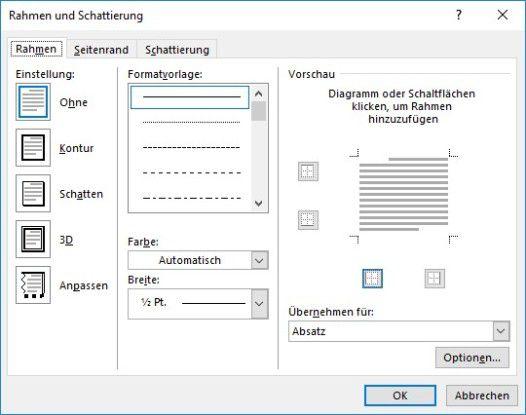 """Über das Word-Fenster """"Rahmen und Schattierung"""" aus dem Ribbon """"Start"""" können Sie mit seitlichen Linien einen Text hervorheben."""