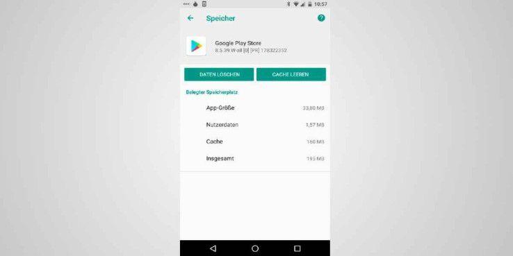 Wenn für Whatsapp kein Platz ist, sollten Sie den Zwischenspeicher des Google Play Stores leeren.