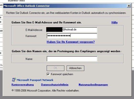 Kontodaten eingeben in Office Outlook Connector