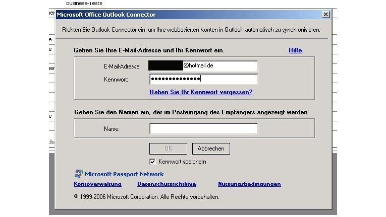 Kontodaten eingeben in Office Outlook Connector