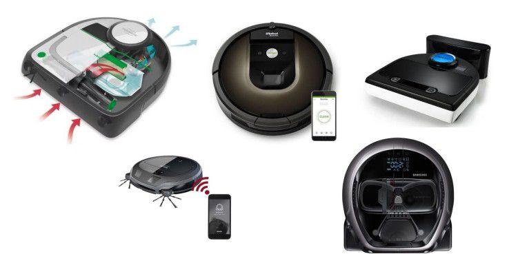 Von links oben nach rechts oben: Der kletterfreudige Vorwerk Kobold VR200, iRobot Roomba 980 und Neato Botvac D85. Darunter von links nach rechts: Miele Scout RX2 Home Vision und Samsung Darth Vader.
