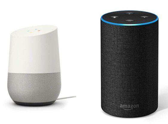 Links Google Home, rechts Amazon Echo